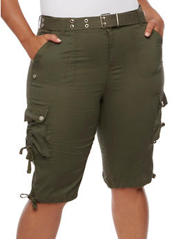 Plus Size Belted Stretch Cargo Shorts - OLIVE - 1860038348257