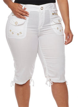 Plus Size Cargo Shorts with Ruched Sides - WHITE - 1860038348258