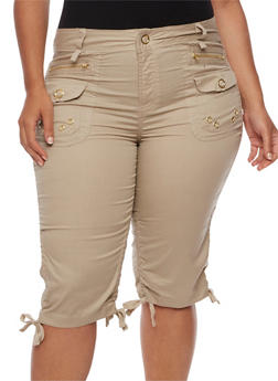 Plus Size Cargo Shorts with Ruched Sides - 1860038348258