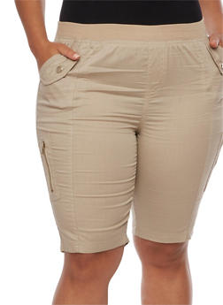 Plus Size Knit Waist Cargo Bermuda Shorts - 1860038348259