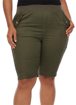 Plus Size Knit Waist Cargo Bermuda Shorts - OLIVE - 1860038348259