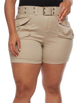 Plus Size Belted Cargo Shorts - 1860038348270