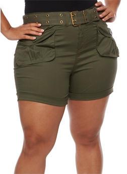 Plus Size Belted Cargo Shorts - OLIVE - 1860038348270