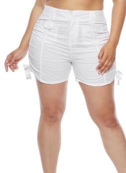 Plus Size Ruched Cargo Shorts - 1860038348273