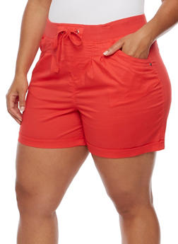 Plus Size Stretch Shorts with Knit Drawstring Waist - 1860038348275