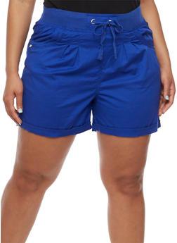 Plus Size Stretch Shorts with Knit Drawstring Waist - 1860038348275