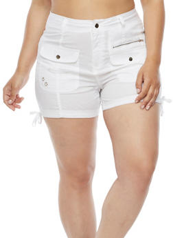 Plus Size Cargo Shorts with Zip Pockets - 1860038348280