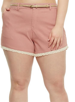 Plus Size Belted Stretch Knit Shorts - 1860054263275