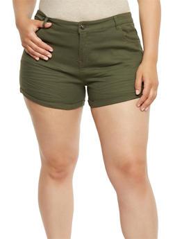 Plus Size Wrinkled Stretch Shorts - OLIVE - 1860054265603