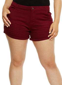 Plus Size Wrinkled Stretch Shorts - BURGUNDY - 1860054265603