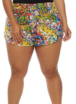 Plus Size Floral Print Shorts - 1860054266397
