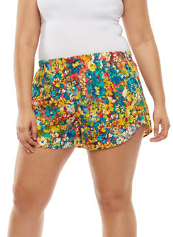 Plus Size Floral Print Shorts - 1860054266397