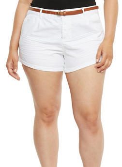 Plus Size Belted Twill Shorts with Rolled Cuffs - WHITE - 1860054268114