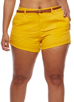 Plus Size Belted Twill Shorts with Rolled Cuffs - MUSTARD - 1860054268114