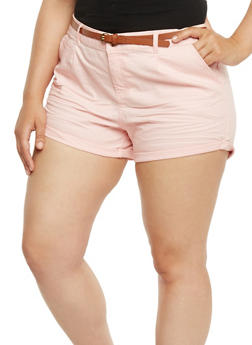 Plus Size Belted Twill Shorts with Rolled Cuffs - 1860054268114