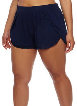 Plus Size Tulip Hem Shorts with Crochet Trim - 1860054269196