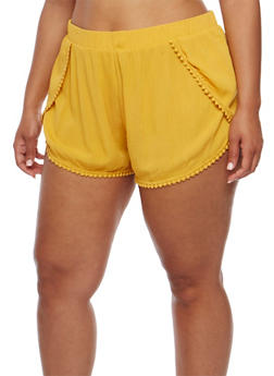 Plus Size Tulip Hem Shorts with Crochet Trim - MUSTARD - 1860054269196