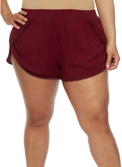 Plus Size Tulip Hem Shorts with Crochet Trim - BURGUNDY - 1860054269196