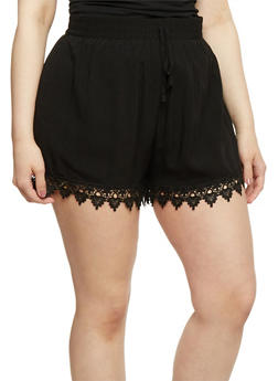 Plus Size Shorts with Crochet Trim - 1860054269197
