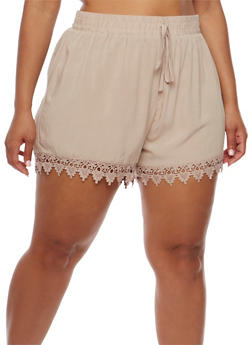 Plus Size Shorts with Crochet Trim - 1860054269197