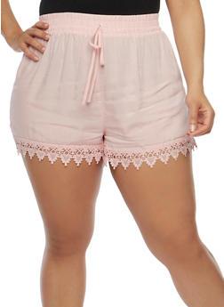 Plus Size Shorts with Crochet Trim - BLUSH - 1860054269197