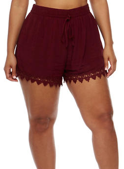 Plus Size Shorts with Crochet Trim - BURGUNDY - 1860054269197