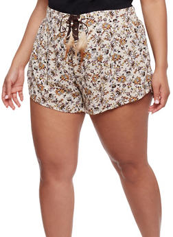 Plus Size Printed Shorts with Lace Up Detail - 1860054269309