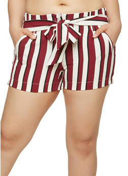 Striped Tie Front Shorts - 1860056570001