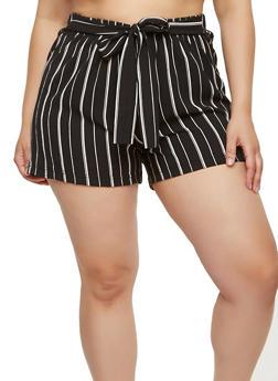 Plus Size Printed Crepe Knit Shorts - BLACK/WHITE - 1860056576218