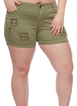 Plus Size Distressed Shorts with Rolled Cuffs - 1860060589194