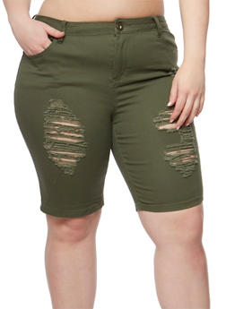 Plus Size Destroyed Twill Bermuda Shorts - OLIVE - 1860061656058