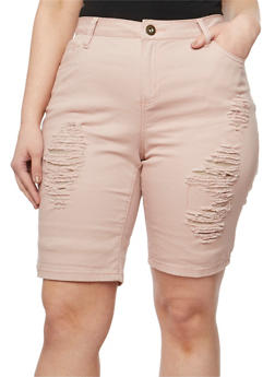Plus Size Destroyed Twill Bermuda Shorts - 1860061656058