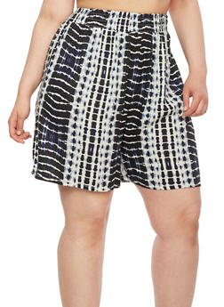Plus Size High-Waisted Shorts in Tie-Dye - 1860062900001