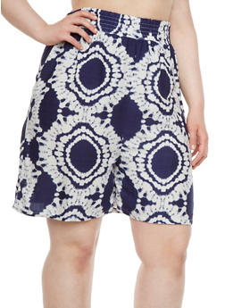 Plus Size High-Waisted Shorts in Tie-Dye Print - 1860062900002