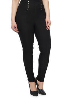 Plus Size Sailor Pants with Elasticized Waist - 1861038342898