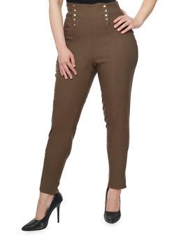 Plus Size Sailor Pants with Elasticized Waist - OLIVE - 1861038342898