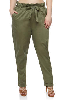 Plus Size Paperbag Waist Pants - 1861038342920
