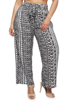 Plus Size Printed Palazzo Pants with Tie Waist - BLACK/WHITE - 1861038348230