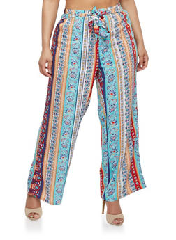 Plus Size Printed Palazzo Pants with Tie Waist - BLUE - 1861038348230