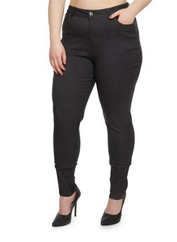 Plus Size Solid Classic Skinny Pants - 1861038348287