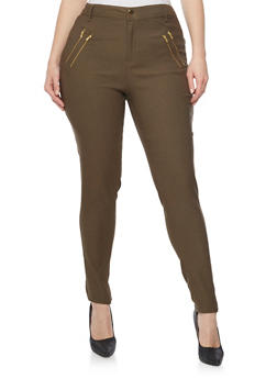 Plus Size Solid Pants with Zip Trim - 1861038348288