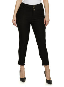 Plus Size High Waisted Cropped Pants - 1861038348289