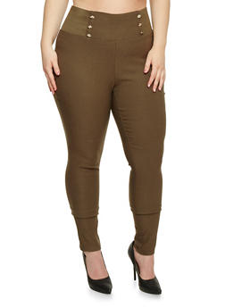 Plus Size Pull On Skinny Sailor Pants - OLIVE - 1861038348297