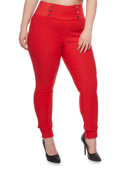 Plus Size Pull On Skinny Sailor Pants - 1861038348297