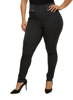 Plus Size Zip Back Skinny Pants - 1861038348299