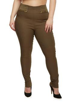 Plus Size Zip Back Skinny Pants - OLIVE - 1861038348299
