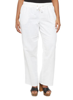 Plus Size Wide Leg Pants With Drawstring And Four Pockets,WHITE,medium