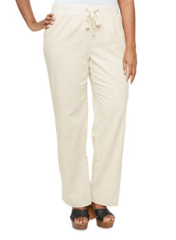 Plus Size Wide Leg Pants With Drawstring And Four Pockets - 1861051060013