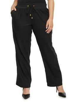 Plus Size Knit Waist Linen Pants - 1861051060930