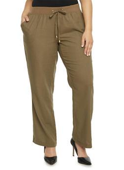 Plus Size Knit Waist Linen Pants - OLIVE - 1861051060930